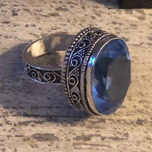 Jewelry - Sterling Blue Topaz Quartz Ring - 8.25